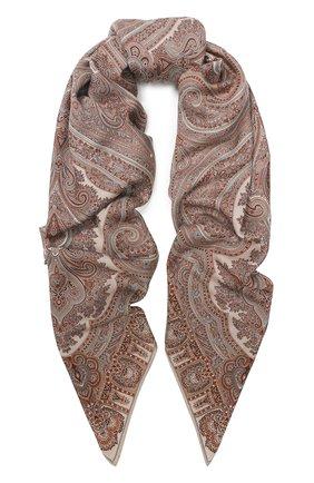Женский платок из смеси кашемира и шелка MICHELE BINDA коричневого цвета, арт. 25WS35953 | Фото 1