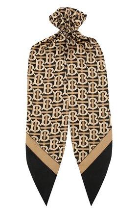Женская шелковый платок для волос BURBERRY черного цвета, арт. 8017502 | Фото 1