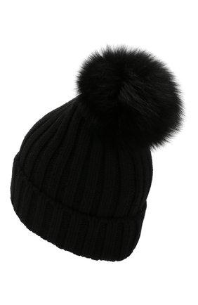 Женский шапка из смеси шерсти и вискозы NIMA черного цвета, арт. C001/SHAD0W F0X | Фото 2