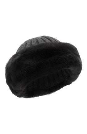 Женский шапка из смеси шерсти и вискозы NIMA темно-серого цвета, арт. C004/REX | Фото 1