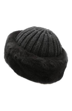 Женский шапка из смеси шерсти и вискозы NIMA темно-серого цвета, арт. C004/REX | Фото 2