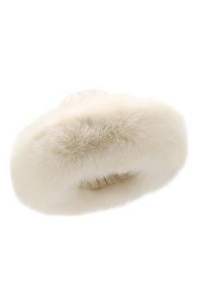 Женский шапка из смеси шерсти и вискозы NIMA белого цвета, арт. C004/SHAD0W F0X | Фото 1