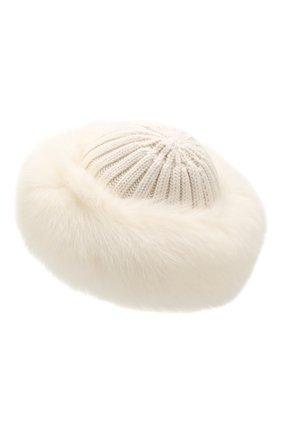 Женский шапка из смеси шерсти и вискозы NIMA белого цвета, арт. C004/SHAD0W F0X | Фото 2