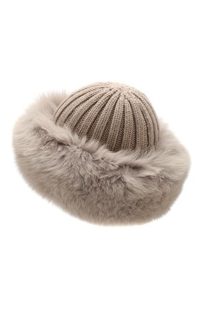 Женский шапка из смеси шерсти и вискозы NIMA темно-бежевого цвета, арт. C004/SHAD0W F0X | Фото 2