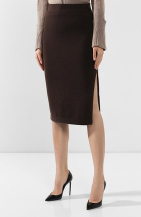 Женская кашемировая юбка TOM FORD коричневого цвета, арт. GCK079-YAX226 | Фото 3