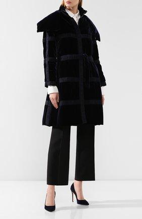 Женское пальто с поясом GIORGIO ARMANI синего цвета, арт. 9WH0C02M/T01AZ | Фото 2 (Материал подклада: Синтетический материал; Рукава: Длинные; Рукава от горловины: Длинные; Материал утеплителя: Шерсть; 1-2-бортные: Однобортные; Материал внешний: Вискоза; Длина (верхняя одежда): До середины бедра; Статус проверки: Проверена категория)