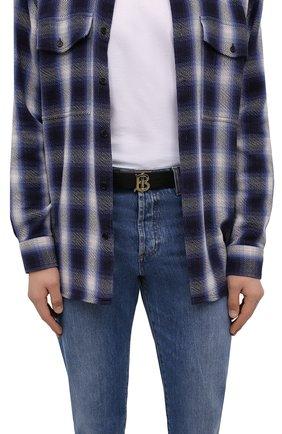 Мужской кожаный ремень BURBERRY черного цвета, арт. 8015599 | Фото 2