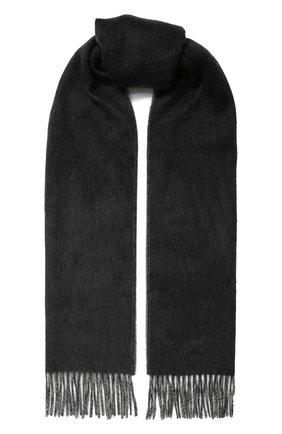 Мужской кашемировый шарф JOHNSTONS OF ELGIN темно-серого цвета, арт. WA000020 | Фото 1