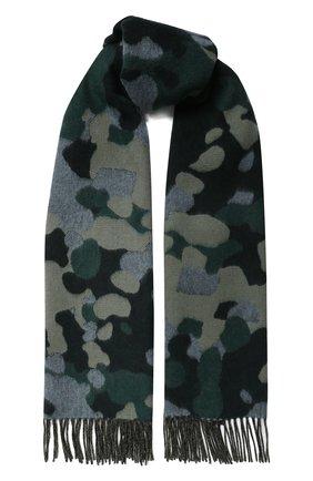 Мужской шарф из смеси кашемира и шерсти JOHNSTONS OF ELGIN зеленого цвета, арт. WB001518 | Фото 1