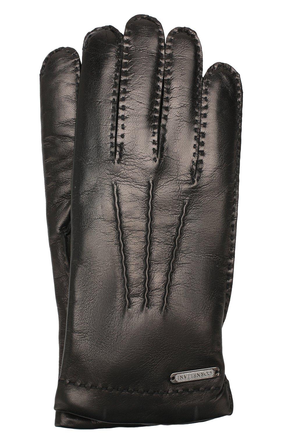 Мужские кожаные перчатки CORNELIANI черного цвета, арт. 84Q301-9820599/00   Фото 1 (Статус проверки: Проверено; Мужское Кросс-КТ: Кожа и замша)