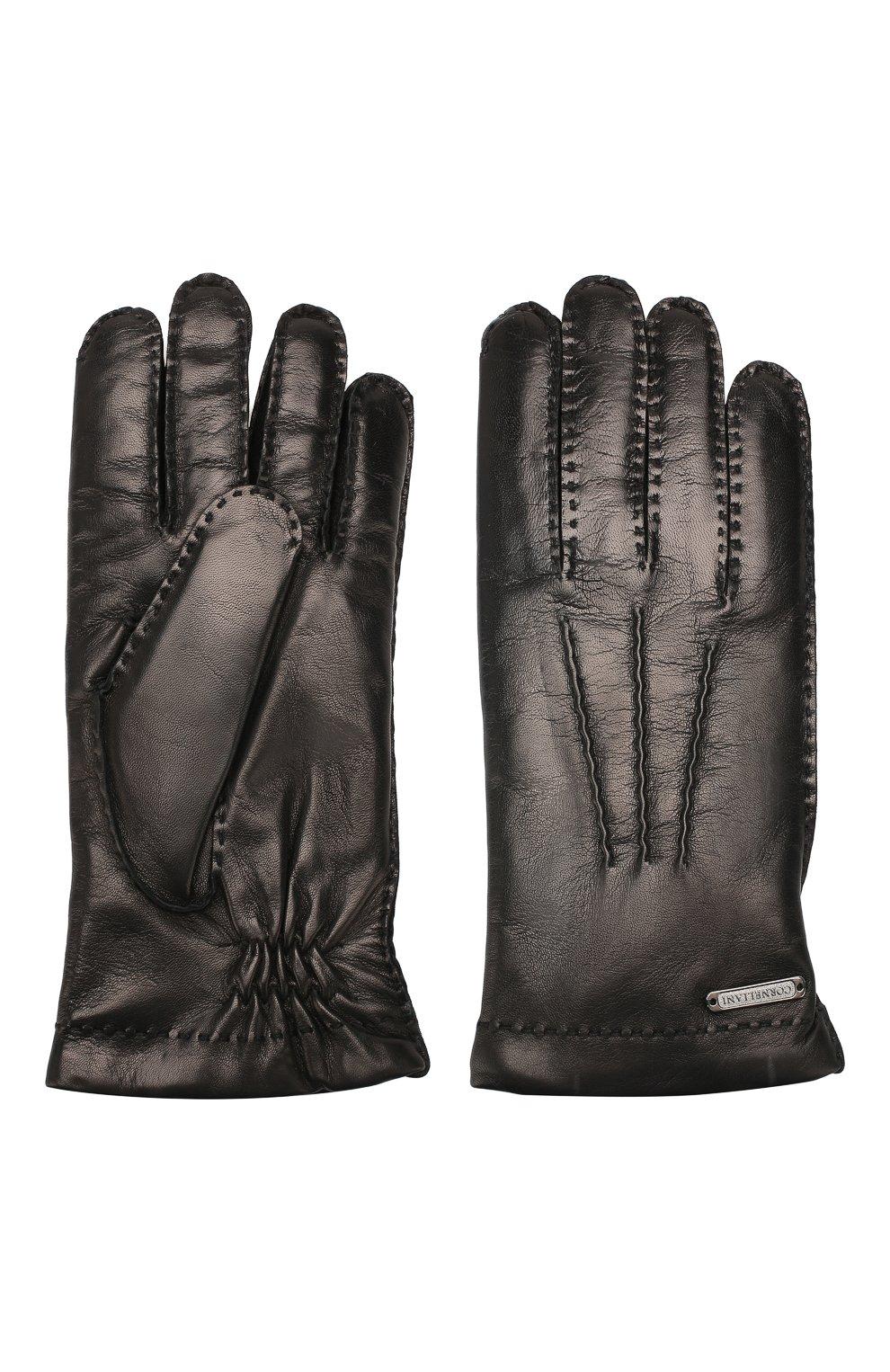Мужские кожаные перчатки CORNELIANI черного цвета, арт. 84Q301-9820599/00   Фото 2 (Статус проверки: Проверено; Мужское Кросс-КТ: Кожа и замша)