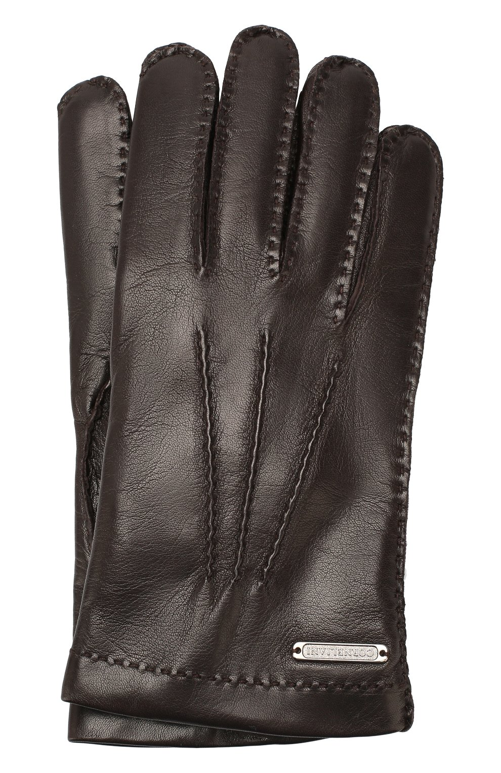 Мужские кожаные перчатки CORNELIANI темно-коричневого цвета, арт. 84Q301-9820599/00   Фото 1