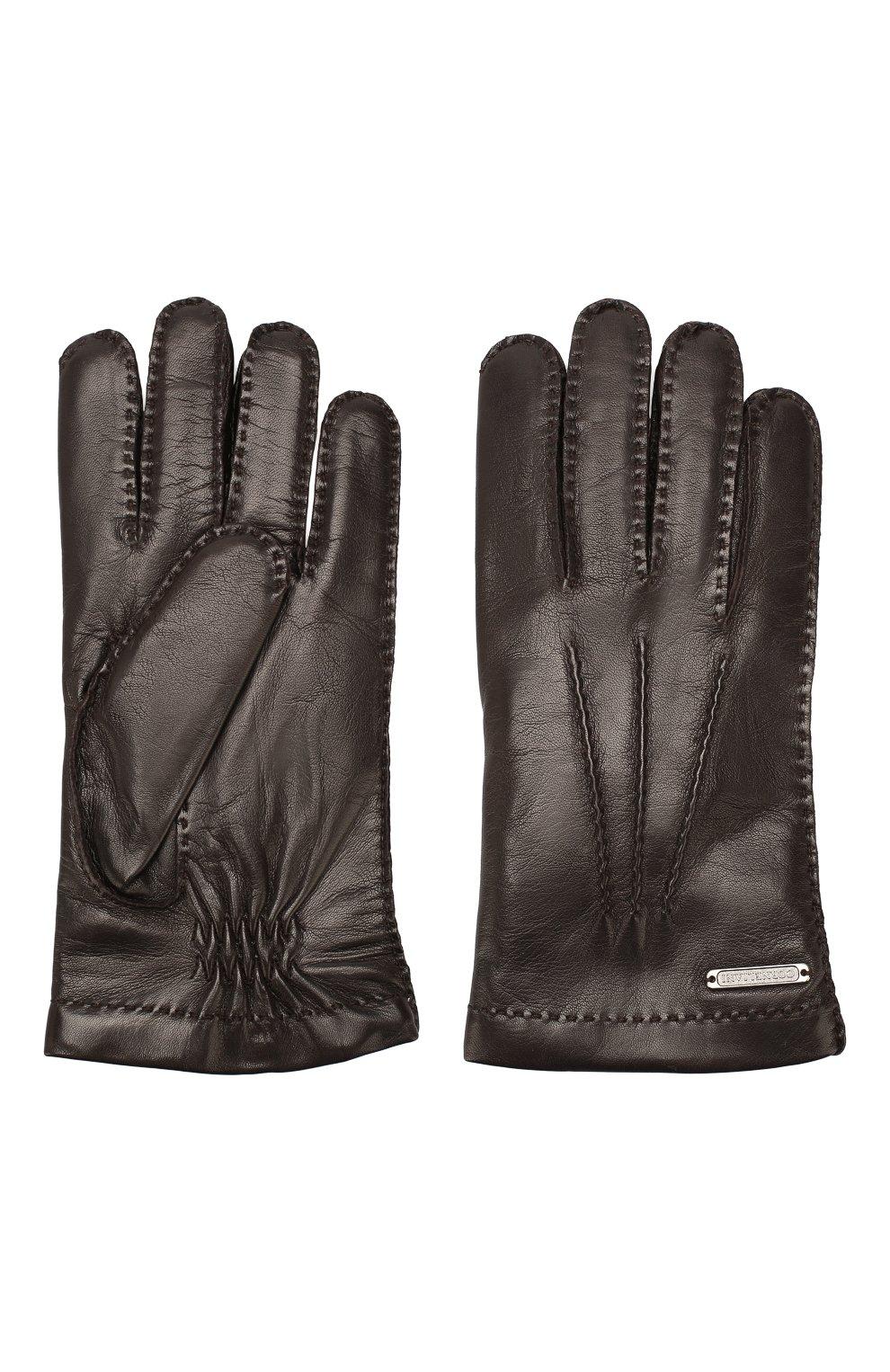 Мужские кожаные перчатки CORNELIANI темно-коричневого цвета, арт. 84Q301-9820599/00   Фото 2