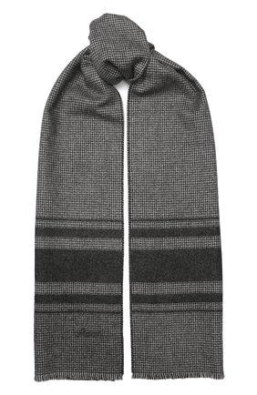 Мужской шарф из смеси шелка и кашемира BRIONI серого цвета, арт. 031E00/08374   Фото 1
