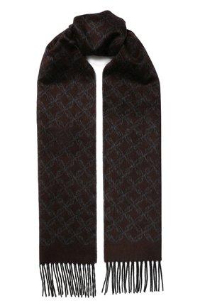 Мужской шарф из смеси шелка и кашемира BRIONI коричневого цвета, арт. 031E00/08382 | Фото 1
