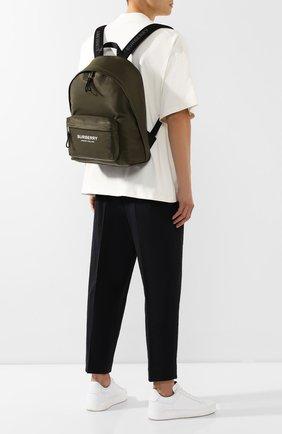 Мужской текстильный рюкзак BURBERRY зеленого цвета, арт. 8016110 | Фото 2