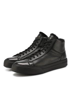 Мужские кожаные кеды H`D`S`N BARACCO черного цвета, арт. CARTER.2* | Фото 1