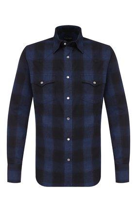 Мужская хлопковая рубашка TOM FORD темно-синего цвета, арт. 6FT522/94MEKI | Фото 1