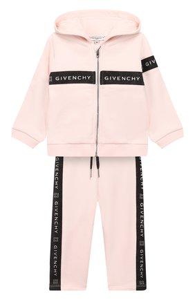 Детский комплект из кардигана и брюк GIVENCHY розового цвета, арт. H08020 | Фото 1