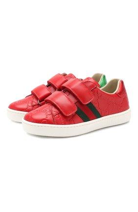 Детские кожаные кеды GUCCI красного цвета, арт. 455448/DF720 | Фото 1
