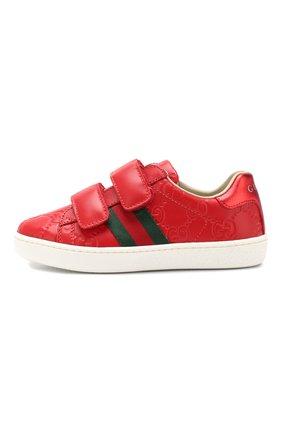 Детские кожаные кеды GUCCI красного цвета, арт. 455448/DF720 | Фото 2