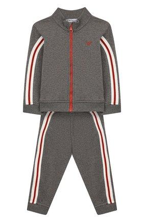 Детский комплект из кардигана и брюк EMPORIO ARMANI серого цвета, арт. 6GHV01/4J2MZ | Фото 1