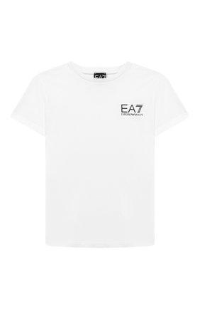 Детская хлопковая футболка EA 7 белого цвета, арт. 6GBT51/BJ02Z | Фото 1