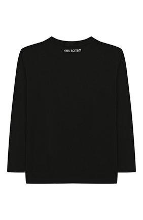 Детская хлопковый лонгслив NEIL BARRETT KIDS черного цвета, арт. 020631 | Фото 2