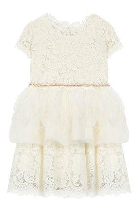 Детское хлопковое платье DESIGNERS CAT бежевого цвета, арт. 0100KK0KI00001/2A | Фото 1