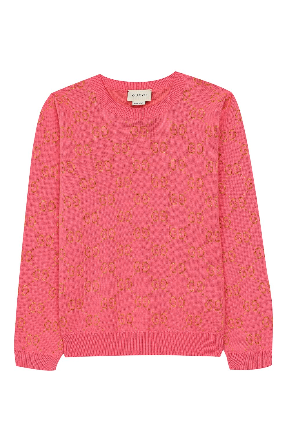 Детский хлопковый пуловер GUCCI розового цвета, арт. 571723/XKAHM | Фото 1