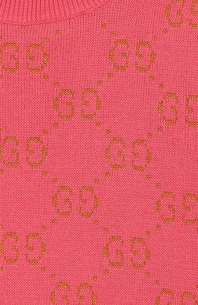Детский хлопковый пуловер GUCCI розового цвета, арт. 571723/XKAHM | Фото 3