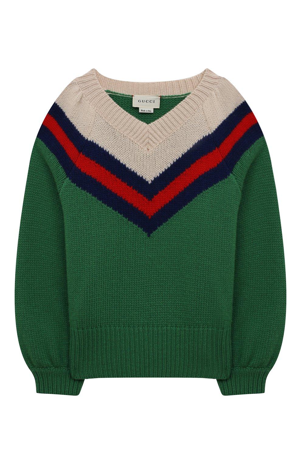 Детский шерстяной свитер GUCCI зеленого цвета, арт. 571626/XKATW   Фото 1