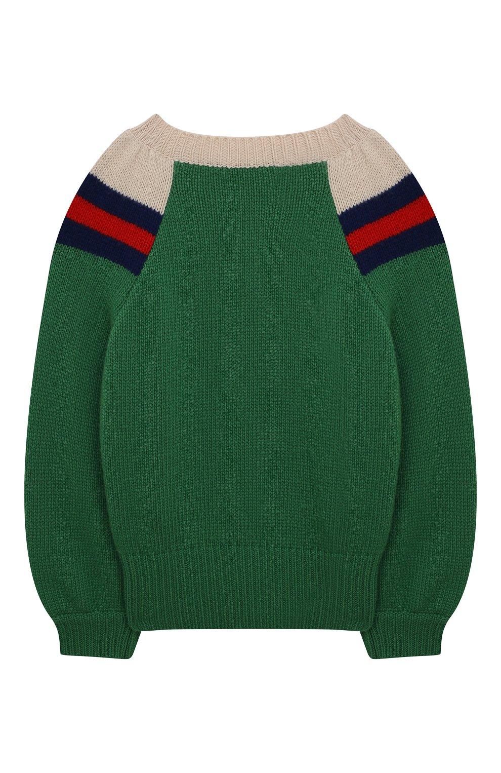 Детский шерстяной свитер GUCCI зеленого цвета, арт. 571626/XKATW   Фото 2