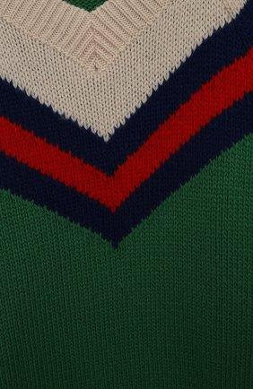 Детский шерстяной свитер GUCCI зеленого цвета, арт. 571626/XKATW   Фото 3