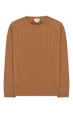 Детский шерстяной пуловер GUCCI бежевого цвета, арт. 570119/XKAQB | Фото 1