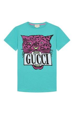 Детская хлопковая футболка GUCCI голубого цвета, арт. 561656/XJBC8 | Фото 1