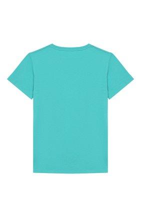 Детская хлопковая футболка GUCCI голубого цвета, арт. 561656/XJBC8 | Фото 2