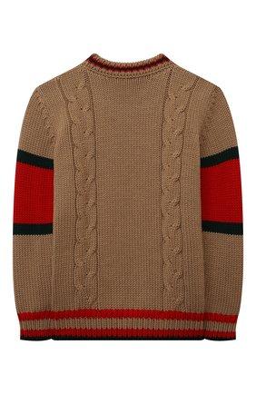Детский шерстяной свитер GUCCI бежевого цвета, арт. 512526/X1577 | Фото 2