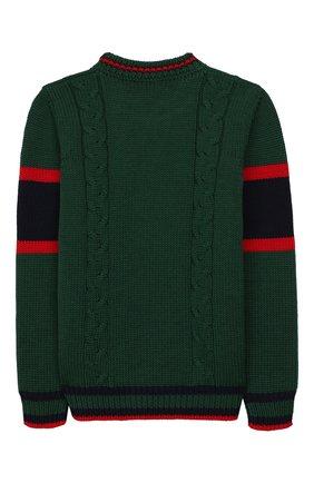 Детский шерстяной свитер GUCCI зеленого цвета, арт. 512526/X1577 | Фото 2