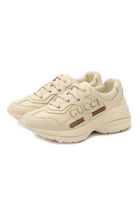 Детские кожаные кроссовки GUCCI белого цвета, арт. 585089/DRW00 | Фото 1