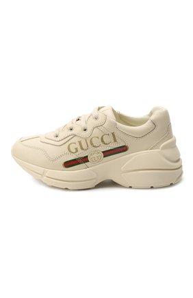 Детские кожаные кроссовки GUCCI белого цвета, арт. 585089/DRW00 | Фото 2
