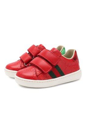 Детские кожаные кеды GUCCI красного цвета, арт. 455447/DF720 | Фото 1