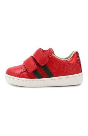 Детские кожаные кеды GUCCI красного цвета, арт. 455447/DF720 | Фото 2