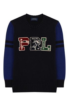 Детский хлопковый пуловер POLO RALPH LAUREN синего цвета, арт. 323749926 | Фото 1