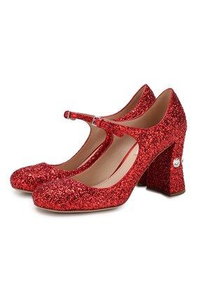 Женская туфли MIU MIU красного цвета, арт. 5I649C/36B | Фото 1