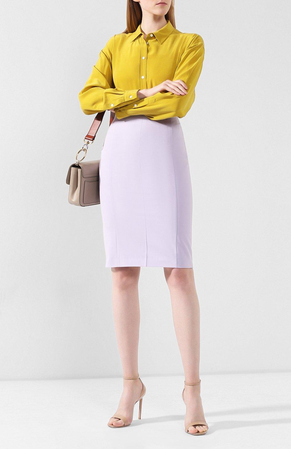 Женская шерстяная юбка BOSS светло-серого цвета, арт. 50411016 | Фото 2