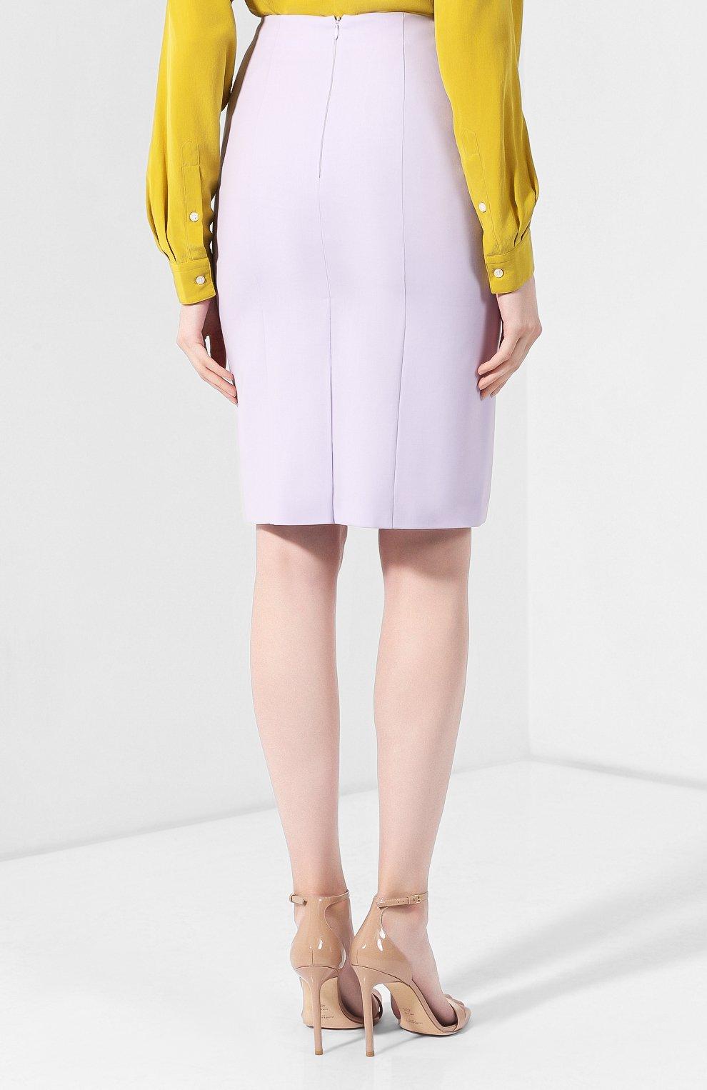 Женская шерстяная юбка BOSS светло-серого цвета, арт. 50411016 | Фото 4