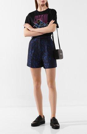 Женские шорты KENZO темно-синего цвета, арт. F962SH0475J4   Фото 2 (Длина Ж (юбки, платья, шорты): Мини; Материал внешний: Синтетический материал; Женское Кросс-КТ: Шорты-одежда)