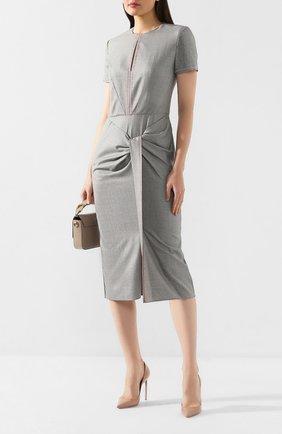 Женское платье из смеси шерсти и шелка ROLAND MOURET серого цвета, арт. PW19/S0736/F0297   Фото 2