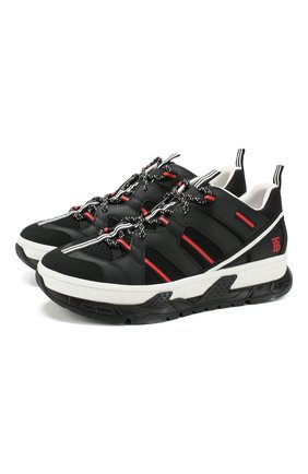 Мужские комбинированные кроссовки union BURBERRY черного цвета, арт. 8017131 | Фото 1